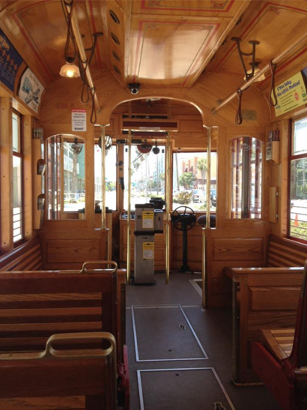 This is a trolley you can catch in the Ybor City neighborhood of Tampa, Florida.  If Raphael is your driver ask him about his dog.